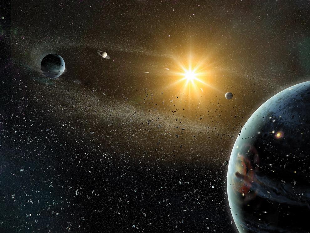 Молодая Солнечная система в представлении художника