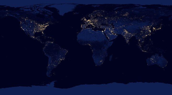 Черный Мрамор: фото Земли из космоса ночью