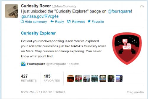 Кьюриосити заработал новый бейдж Foursquare