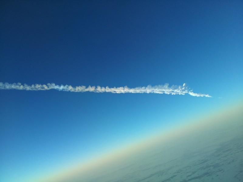 Падение метеорита, вид с самолета