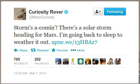 Солнечная буря на Марсе