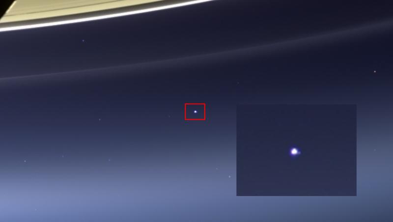 Земля и Луна, фотография с Кассини