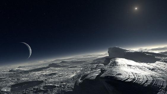 Вид с поверхности одного из объектов пояса Койпера в представлении художника Источник: ESO/L. Calcada