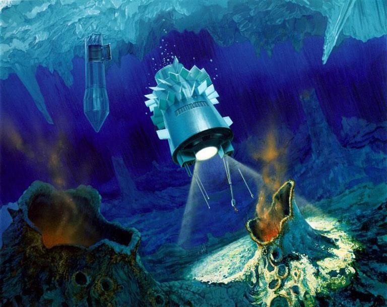 Исследование глубин Европы в представлении художника Источник: NASA