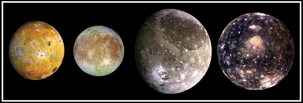 Слева направо: Ганимед, Каллисто, Ио, Европа Источник: NASA