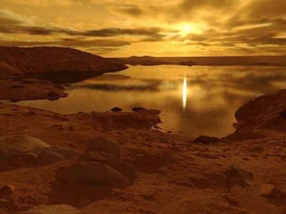 Углеводоем Титана в представлении художника Источник: Ron Miller
