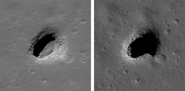 Лунные пещеры Источник: NASA/GSFC/Arizona State University.