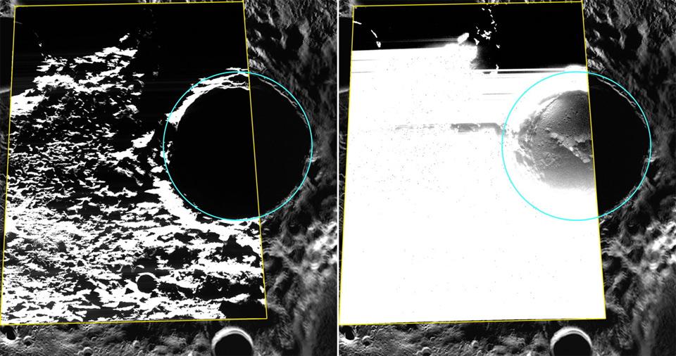 Изображение льда на дне кратера Прокофьева Источник: NASA/Johns Hopkins University Applied Physics Laboratory/Carnegie Institution of Washington